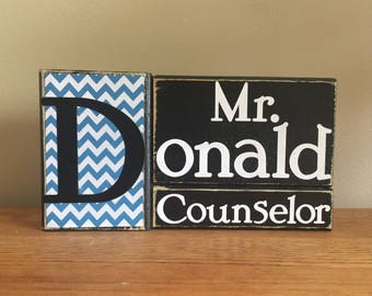 Personalized Counselor gift - wood counselor name block - teacher gift - principal gift - counselor gift - end of school year gift