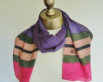 ANNE KLEIN silk scarf, long silk scarf,designer scarves, striped silk scarf, silk hair wrap, skinny scarf, oblong silk scarf,neck scarf silk