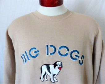 vintage 90's Big Dogs dark emerald green reverse pile graphic sweatshirt tonal embroidered logo pullover jumper oversized medium or large