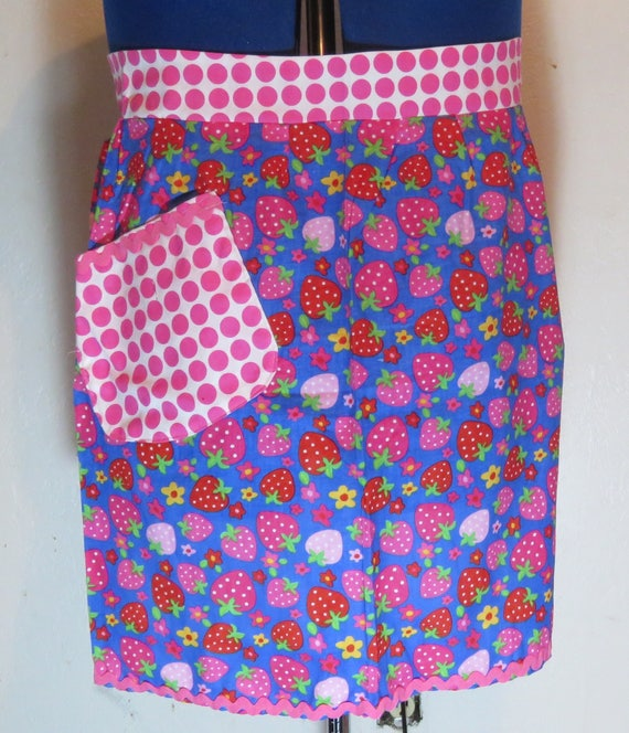 Strawberry and Pink Polka Dot Half Apron