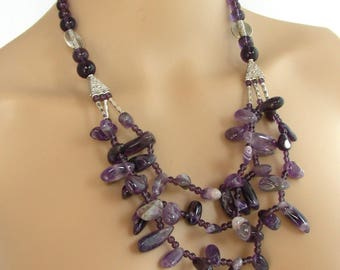 Necklace - gemstones - amethyst and glass - Bohemian trend