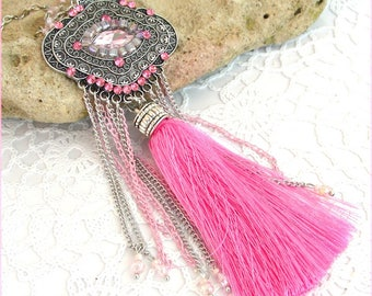 Pink necklace, bib and pendants - beads, chain and tassel