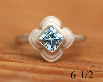 Aquamarine ring, size 6 1/2, 14k yellow gold and aquamarine ring, gold stacking ring, #590.