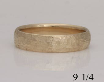 14k yellow gold  band, size 9 1/4 or custom sizes, rustic texture, #757.