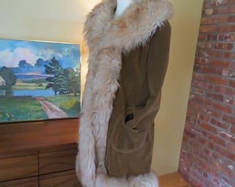 Vintage Lantry Leathers Suede Faux Fur Mod Princess Coat Large