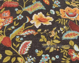 Large Floral Cotton Fabric, Large Yellow Flower on Dark Brown Cotton - 1/2 Yard