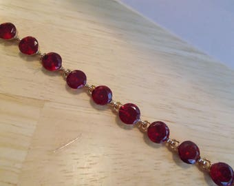 Gold tone and Red Bead Link Bracelet