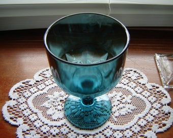 Glass goblet teal blue 6 inch tall glass goblet retro chic decor collectible brandy snifter vintage