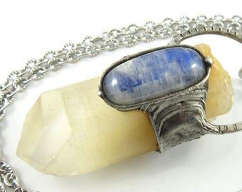 the sun and moon - angel amphibole phantom quartz crystal with moonstone