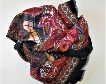 """Vintage paisley and plaid and floral scarf, burgundy and black, fringed hem, French Country, Woman's Accessory,  35"""" x 36"""", gift idea"""
