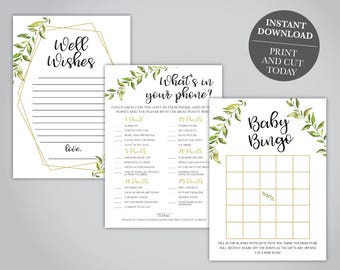 INSTANT DOWNLOAD - Greenery Baby Shower Games Pack, Leaf Printable Baby Shower Games, Baby Shower Game Set, OLDP300