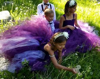Plum Eggplant and Lavender Flower Girl Dress, Plum Ball Gown Girls Sizes