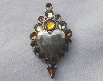 Jean Paul Gaultier vintage modernist designer large heart brooch pin -French haute couture designer