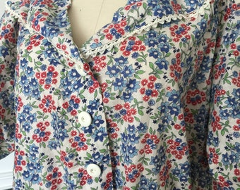 Deadstock 40s Forget Me Not Blue Floral Curvy Size House Dress