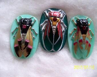 Czech  Glass Buttons   (3 PCS) Hand Painted SCARAB Cicada 40mm   IVA 002