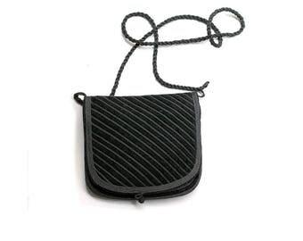 vintage moroccan Black  velvet  embroidered  bag