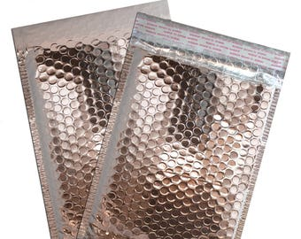 50 Pack -6x10 Chromed Pink METALLIC BUBBLE MAILER, Self Sealing Padded Shipping Envelopes, Size #0 Business Mailers