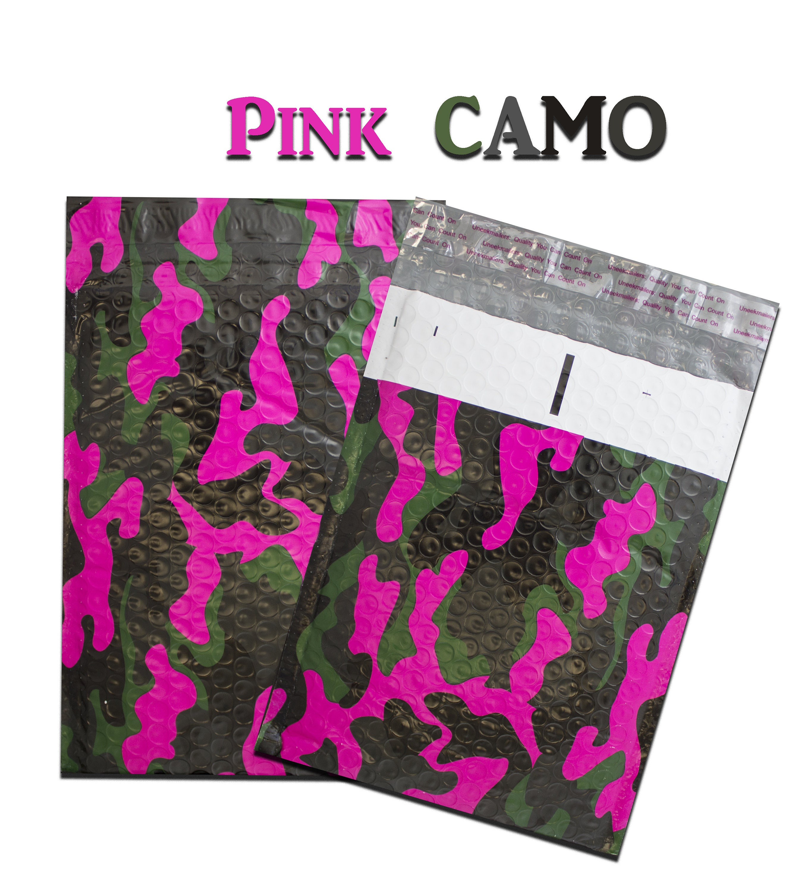30 Pack 6x10 Pink Camo Design Poly Bubble Mailers