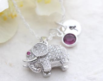 Elephant, CZ Elephant Necklace, Sterling silver elephant pendant. Personalized charm necklaces, Silver 3D elephant . Mothers Days gift.
