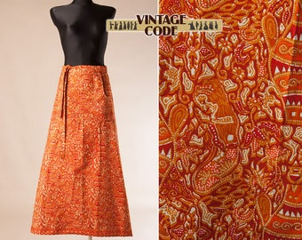 Orange Ethnic Cotton  Maxi Wrap Skirt / Hippie Boho Festival  Floor Length Tribal Ethnic print maxi skirt / size small medium
