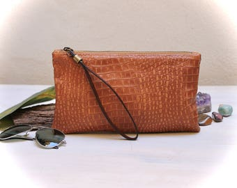 leather clutch bag, crocodile cognac clutch, wristlets clutch, leather pochette