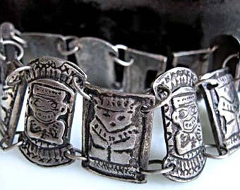 Incan Mayan Figurals Bracelet, Silver Links, Pre Columbian South American Glyphs, Sterling Nine Panel Totems Bracelet