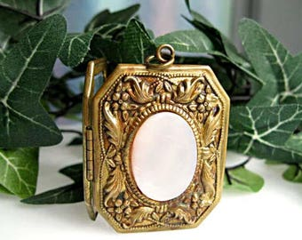 Mourning Photo Locket, Flower Leaves Large Octagon Design, Mother of Pearl, Florals Border, Victorian Revival, Family Keepsake