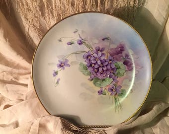 Antique Warwick China Plate Violets Artist Signed Wheeling China Gold Rim