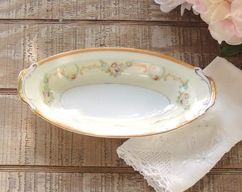 Hand Painted Japan Relish Dish Pink Roses Gold Trim Cottage Style Oblong Dish Mid Century