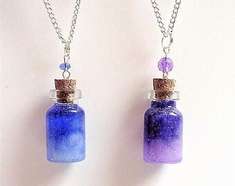 Galaxy Necklace, Miniature Bottle Necklace, Wish Bottle, Mini Bottle Pendant, Star Necklace, Glass Bottle Jewelry Star Gazer necklace Nebula