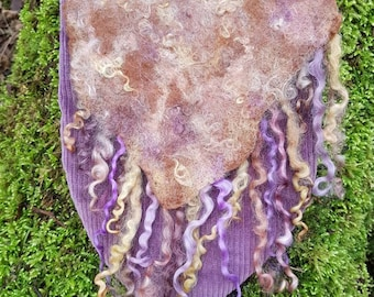Fabric and wet felted bag~faery bag~elven bag~fantasy~cosplay~purple and brown