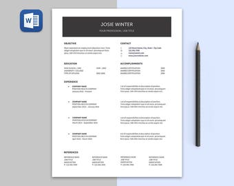 Josie Modern RESUME Template | Custom Professional Crafted Layout for Resume Cover Letter in Editable Word Doc File | Printable Resume