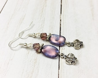 Charming purple Czech glass earrings with delicate silver tone crown charms by Jules Jewelry Box