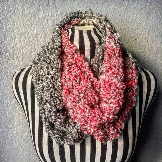 Gray & Pink | Soft | Knitted Infinity Scarf — Ready To Ship