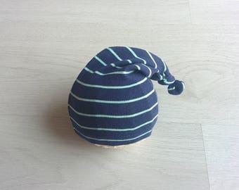 Newborn stocking hat Baby sleepy hat Newborn photo props Newborn knotted hat Newborn boy prop Navy blue newborn hat Night cap baby hat