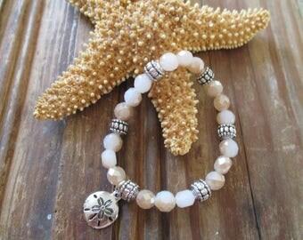 Sand dollar bracelet, Sand dollar charm, Beach jewelry, Beach bracelet, Summer jewelry, Sea charm bracelet, Handmade bracelet