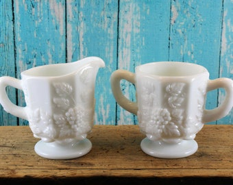 Westmoreland Sugar and Creamer, Paneled Grape, Milk Glass, Dining and Serving, Tea Party, Mid Century, Vintage kitchen, white glass