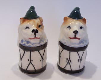 Circus Lion on Drum Vintage Collectible Mid Century Kitchen Salt and Pepper