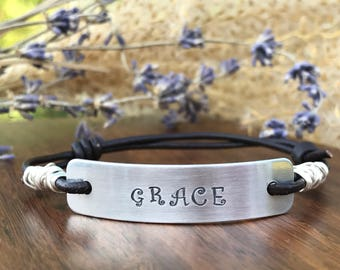 GRACE--leather bracelet--hand stamped--adjustable--wire wrapped--motivational--slide--daily reminder--silver--religious jewelry--bible