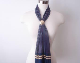 Vintage Long Head Scarf - Serge Nancel Paris Scarves - Womens Navy Blue Striped Accessories 1960s