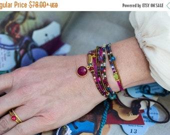 SPRING SALE Ruby Bracelet, Gemstone Bracelet, Multi Wrap Bracelet, Beaded Wrap Bracelet, Boho Bracelet, Charm Bracelet, Tiny Bead Bracelet,