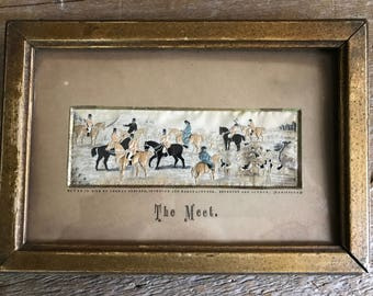 Framed Silk Embroidery, Equestrian Fox Hunting, Thomas Stevens, The Meet, Coventry and London