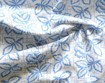 vintage french floral fabric patchwork fabric quilting fabric antique fabric blue flowers blue floral fabric  182