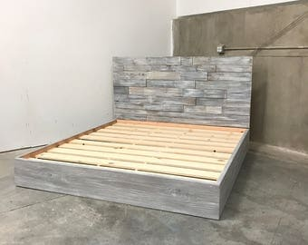 king size amanda grey driftwood finished bed with horizontal staggered patched recycled reclaimed wood headboard - Driftwood Bed Frame
