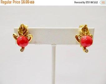 ON SALE Vintage Red Bauble Leaf Earrings Item K # 3080