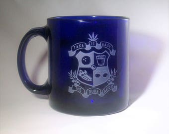 Blue Coffee Mug with the Dudeism Coat of Arms