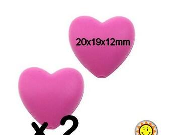 x 2 beads 20mm fushia standards heart silicone teething food