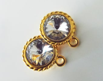 Clear Swarovski Rivoli Charms in Tierra Cast twisted Edge Gold Setting 1 Pair Just enough Supplies