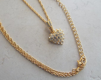 Vintage Monet Pave Rhinestone Heart Chain Necklace