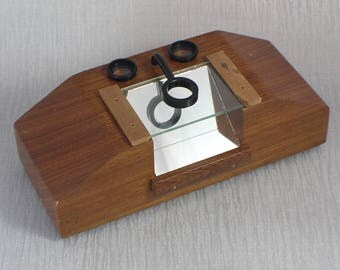 Dark Teak Mid Century Wooden Medical Dissecting Microscope with Lenses